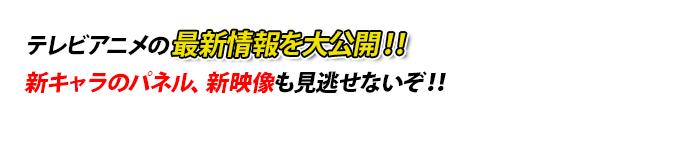 テレビアニメの最新情報を大公開!!新キャラのパネル、新映像も見逃せないぞ!!